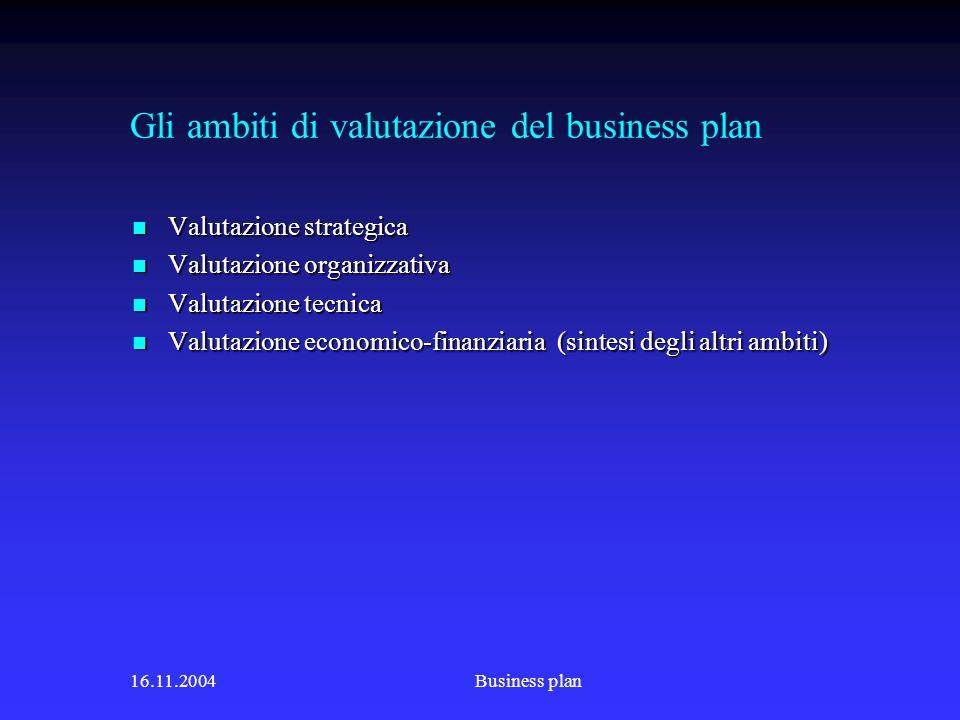 Gli ambiti di valutazione del business plan