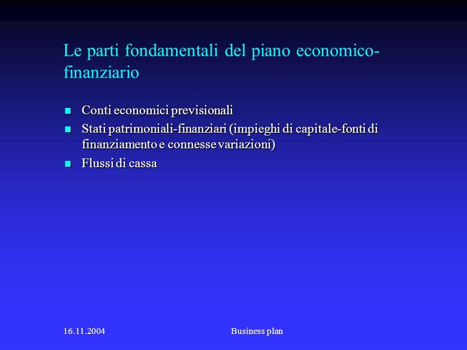 Le parti fondamentali del piano economico-finanziario