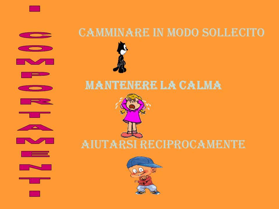 I COMPORTAMENTI CAMMINARE IN MODO SOLLECITO MANTENERE LA CALMA