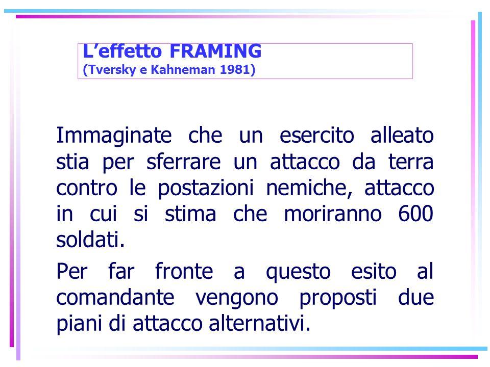 L'effetto FRAMING (Tversky e Kahneman 1981)