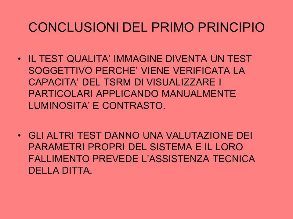 CONCLUSIONI DEL PRIMO PRINCIPIO