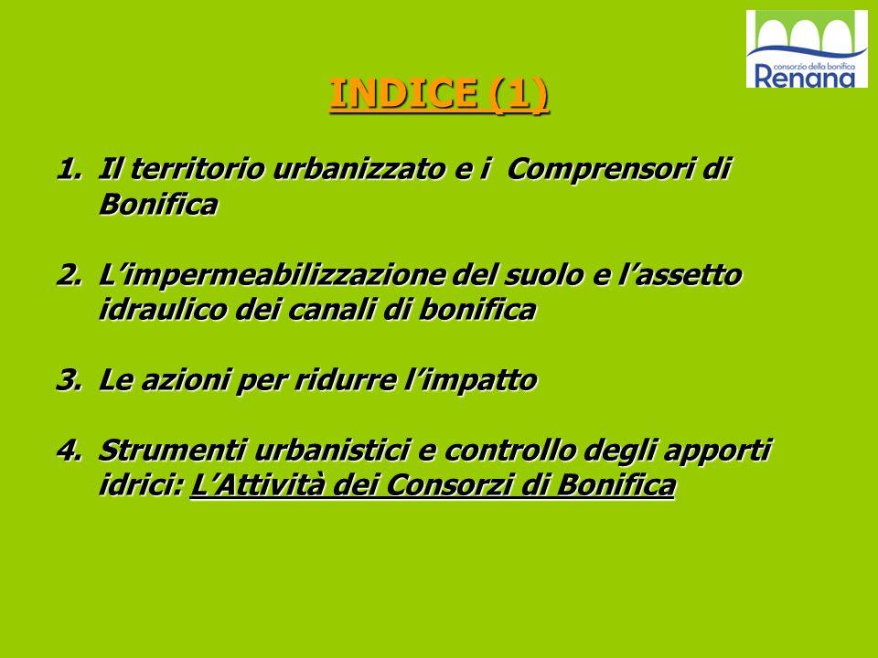 INDICE (1) Il territorio urbanizzato e i Comprensori di Bonifica