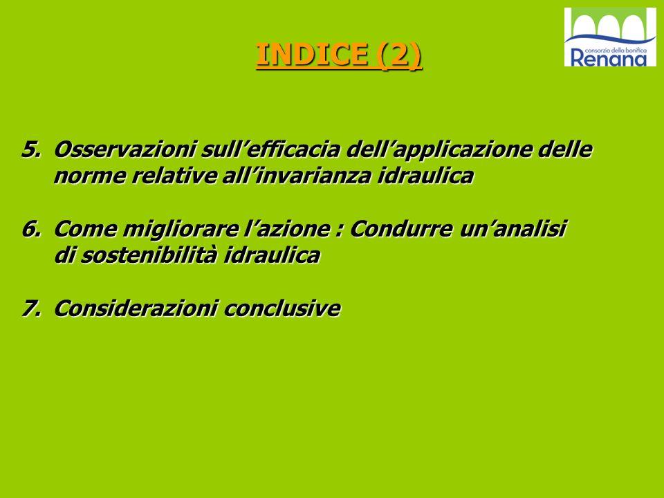 INDICE (2) Osservazioni sull'efficacia dell'applicazione delle norme relative all'invarianza idraulica.