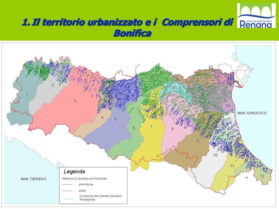 Il territorio urbanizzato e i Comprensori di Bonifica