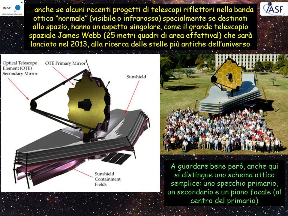 … anche se alcuni recenti progetti di telescopi riflettori nella banda ottica normale (visibile o infrarossa) specialmente se destinati allo spazio, hanno un aspetto singolare, come il grande telescopio spaziale James Webb (25 metri quadri di area effettiva!) che sarà lanciato nel 2013, alla ricerca delle stelle più antiche dell'universo