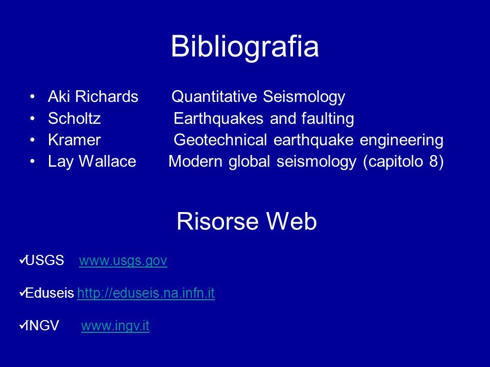 Bibliografia Risorse Web Aki Richards Quantitative Seismology