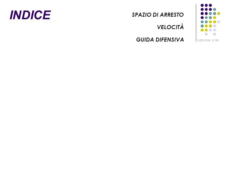 INDICE SPAZIO DI ARRESTO VELOCITÀ GUIDA DIFENSIVA CLES 2006 / 2° SM