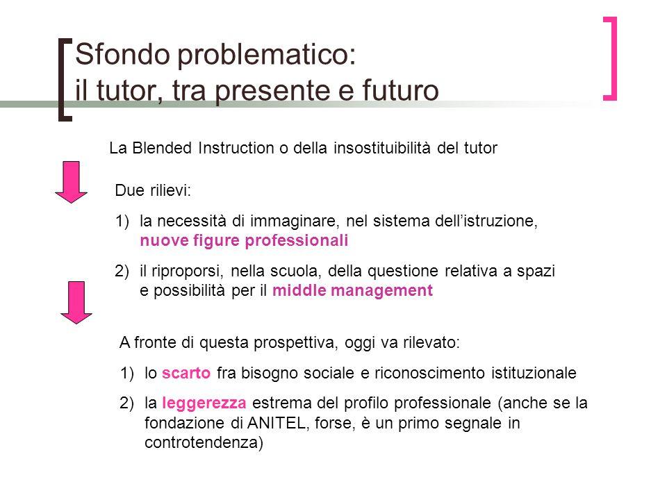 Sfondo problematico: il tutor, tra presente e futuro