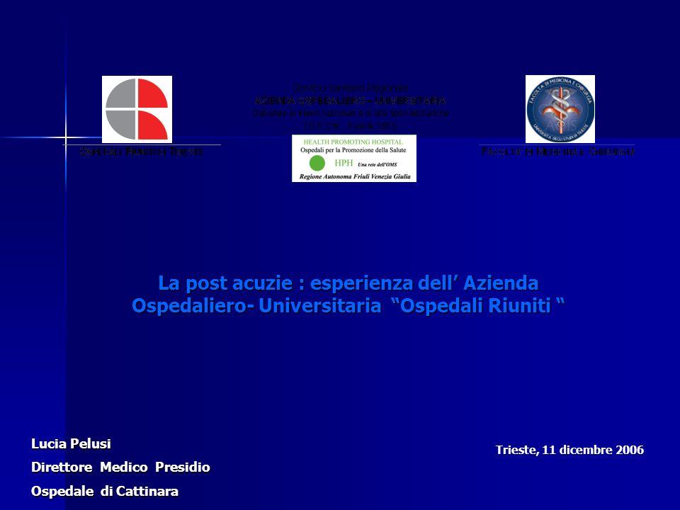La post acuzie : esperienza dell' Azienda Ospedaliero- Universitaria Ospedali Riuniti