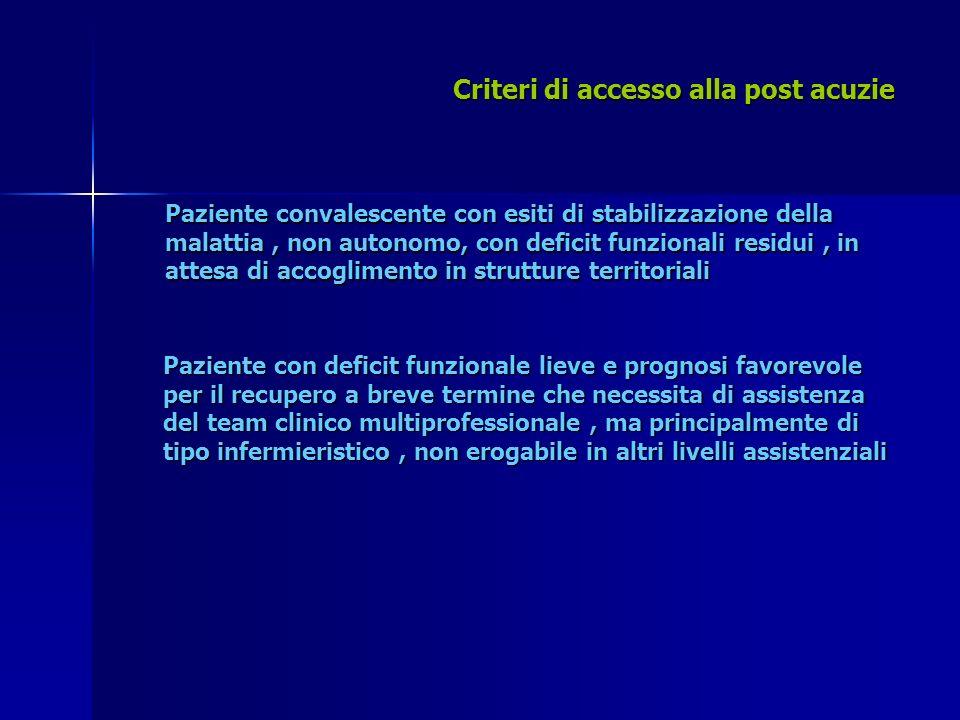 Criteri di accesso alla post acuzie