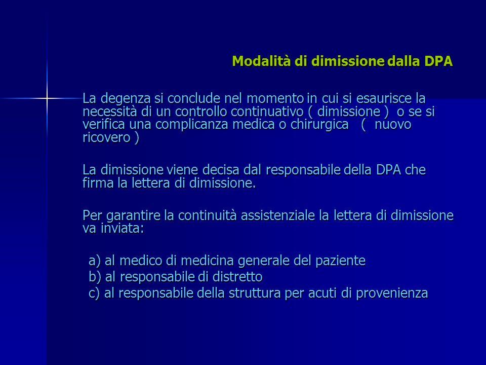 Modalità di dimissione dalla DPA