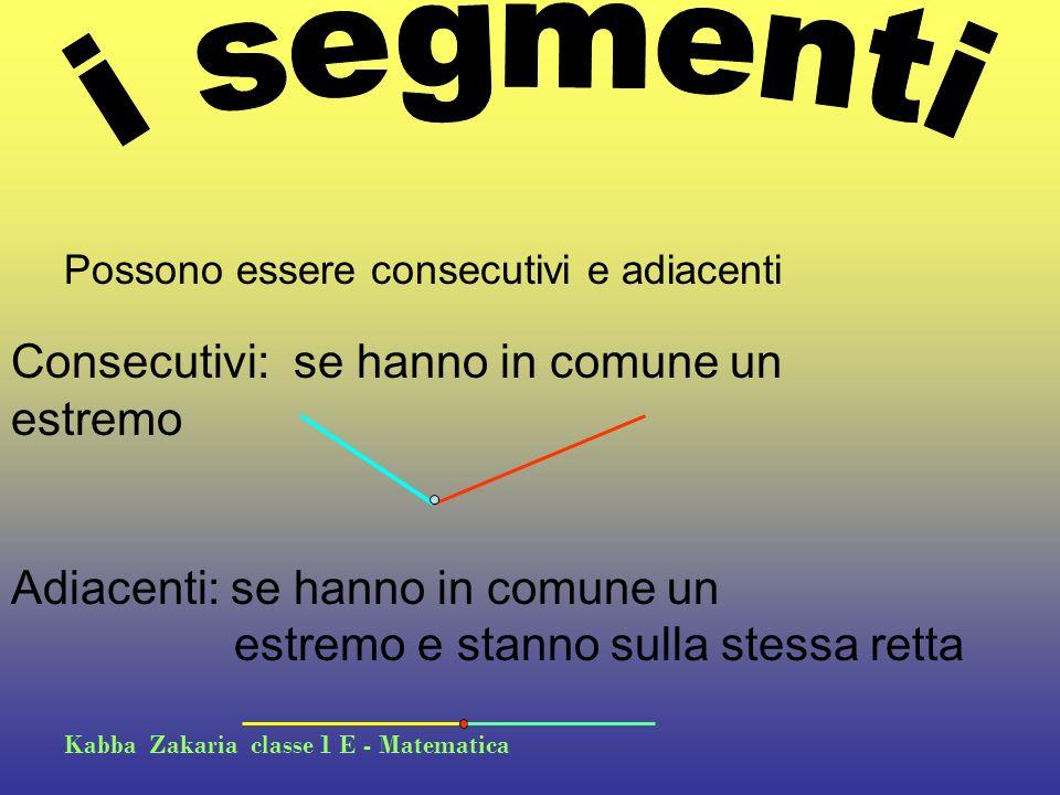 i segmenti Consecutivi: se hanno in comune un estremo