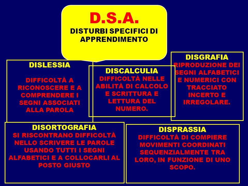 D.S.A. DISTURBI SPECIFICI DI APPRENDIMENTO DISGRAFIA DISLESSIA