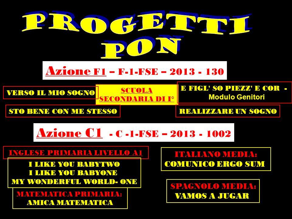 PROGETTI PON Azione F1 – F-1-FSE – 2013 - 130