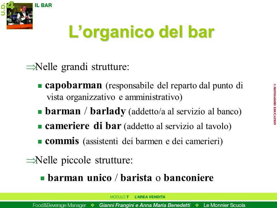 L'organico del bar Nelle grandi strutture: