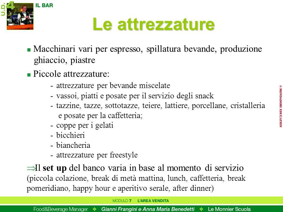 Le attrezzature Macchinari vari per espresso, spillatura bevande, produzione ghiaccio, piastre.