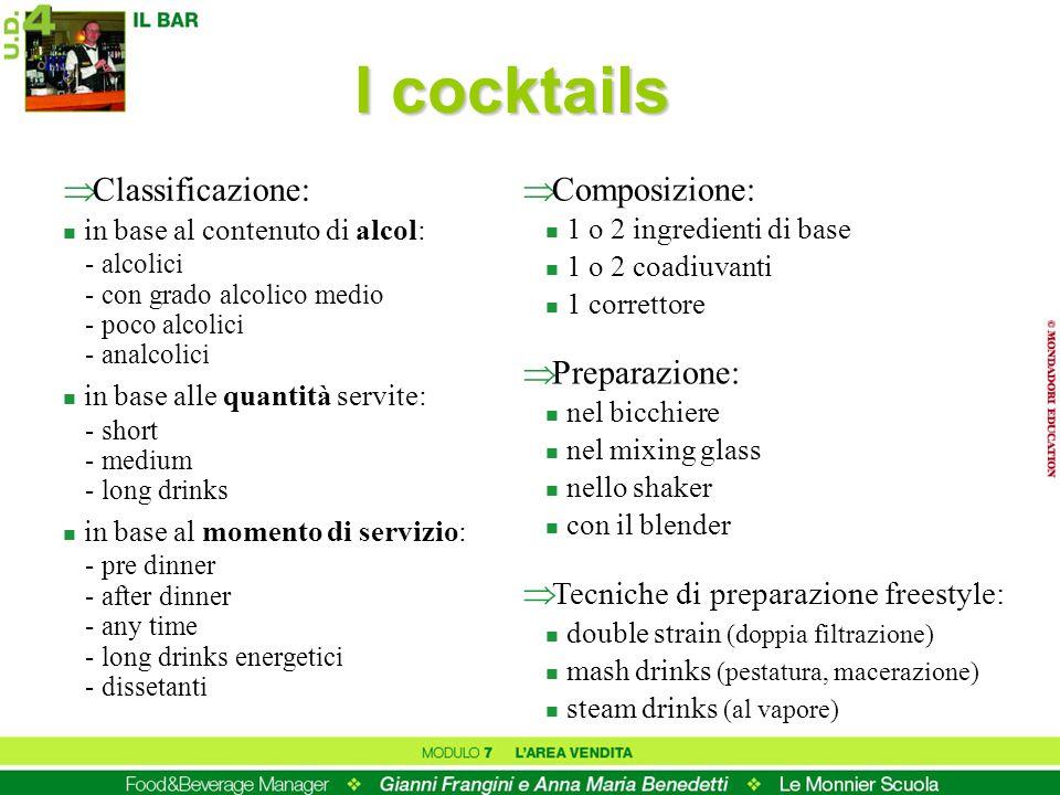 I cocktails Classificazione: Composizione: Preparazione: