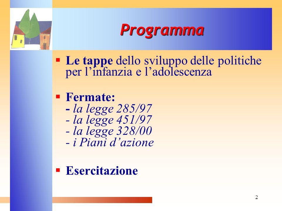 Programma Le tappe dello sviluppo delle politiche per l'infanzia e l'adolescenza.