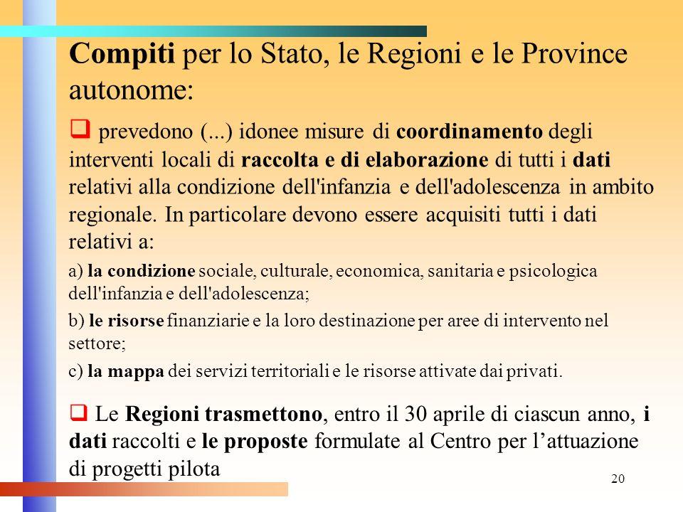 Compiti per lo Stato, le Regioni e le Province autonome: