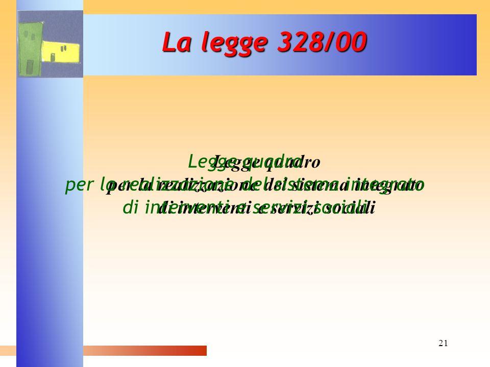 La legge 328/00 Legge quadro per la realizzazione del sistema integrato di interventi e servizi sociali.