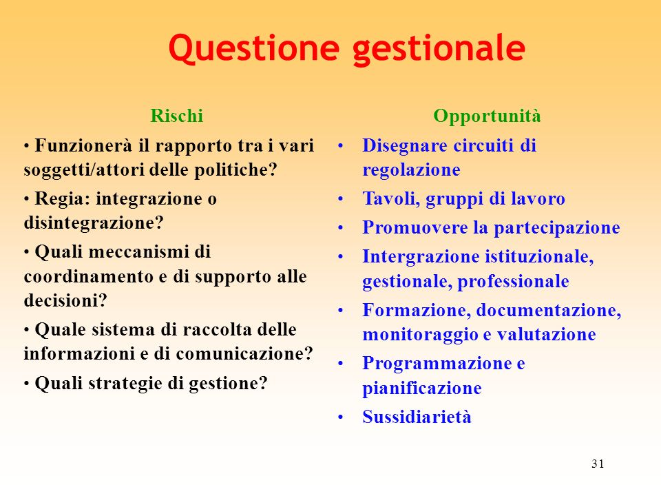 Questione gestionale Rischi