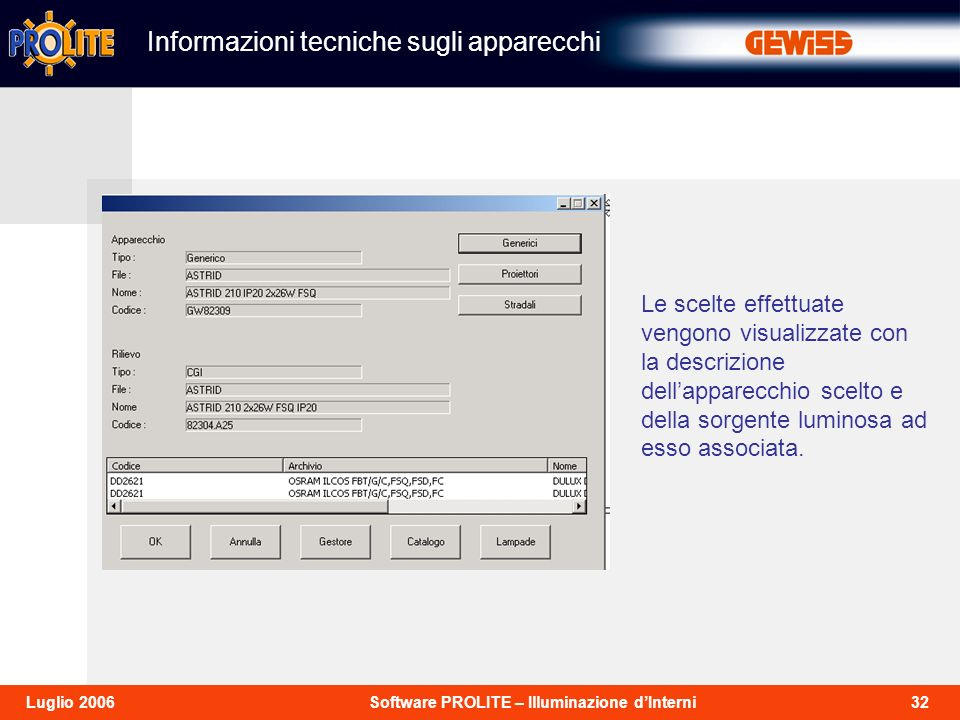 Informazioni tecniche sugli apparecchi