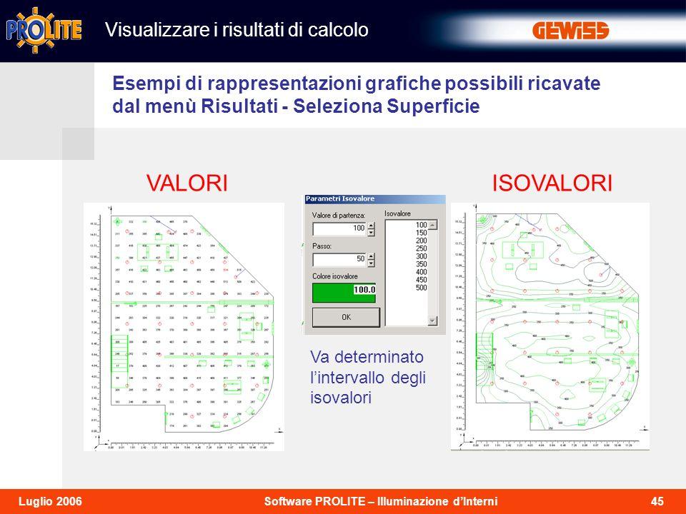 VALORI ISOVALORI Visualizzare i risultati di calcolo