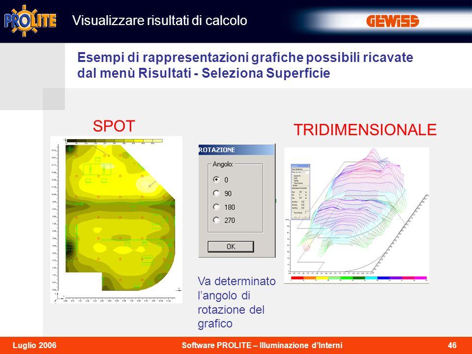 SPOT TRIDIMENSIONALE Visualizzare risultati di calcolo