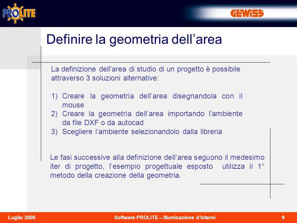 Definire la geometria dell'area