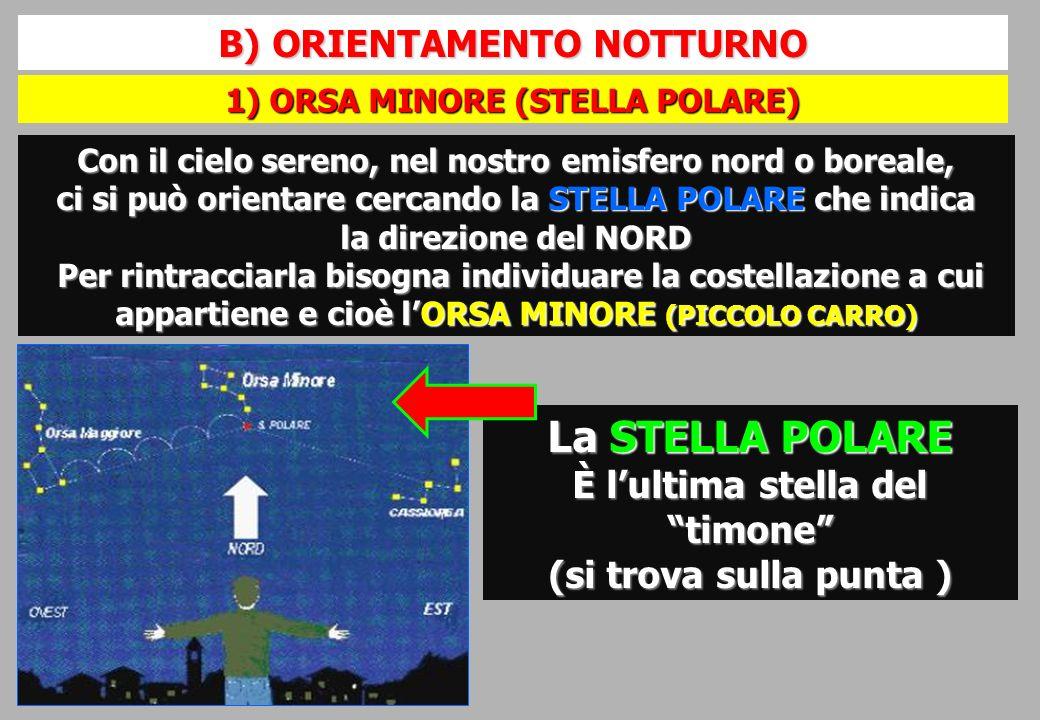 La STELLA POLARE B) ORIENTAMENTO NOTTURNO