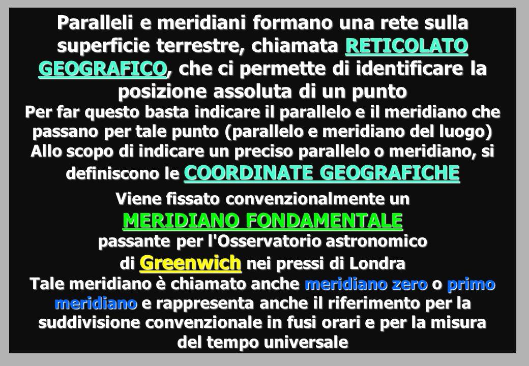 Paralleli e meridiani formano una rete sulla superficie terrestre, chiamata RETICOLATO GEOGRAFICO, che ci permette di identificare la posizione assoluta di un punto Per far questo basta indicare il parallelo e il meridiano che passano per tale punto (parallelo e meridiano del luogo) Allo scopo di indicare un preciso parallelo o meridiano, si definiscono le COORDINATE GEOGRAFICHE