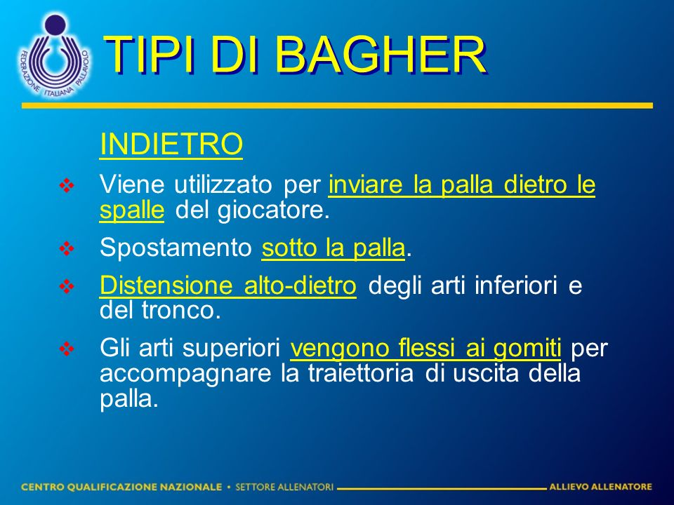 TIPI DI BAGHER INDIETRO