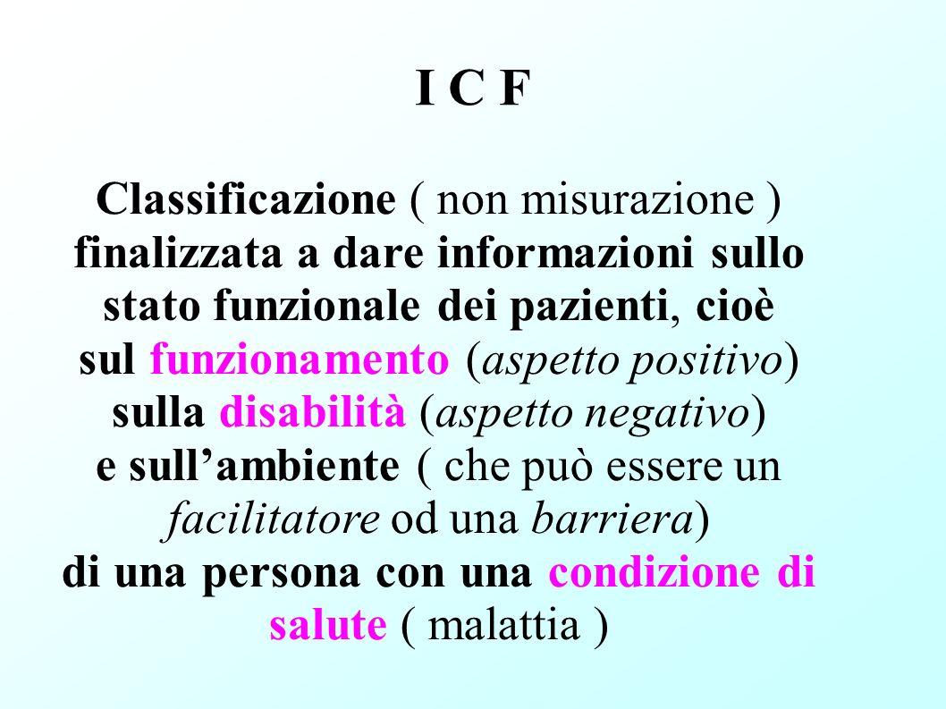 I C F Classificazione ( non misurazione )
