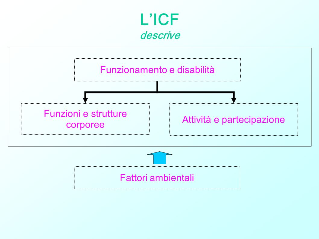 L'ICF descrive Funzionamento e disabilità