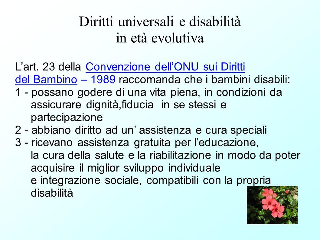 Diritti universali e disabilità in età evolutiva