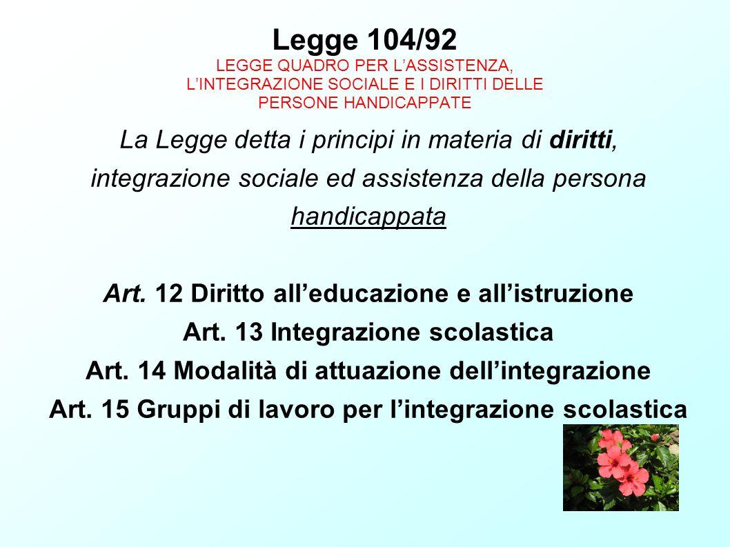 Legge 104/92 LEGGE QUADRO PER L'ASSISTENZA, L'INTEGRAZIONE SOCIALE E I DIRITTI DELLE PERSONE HANDICAPPATE