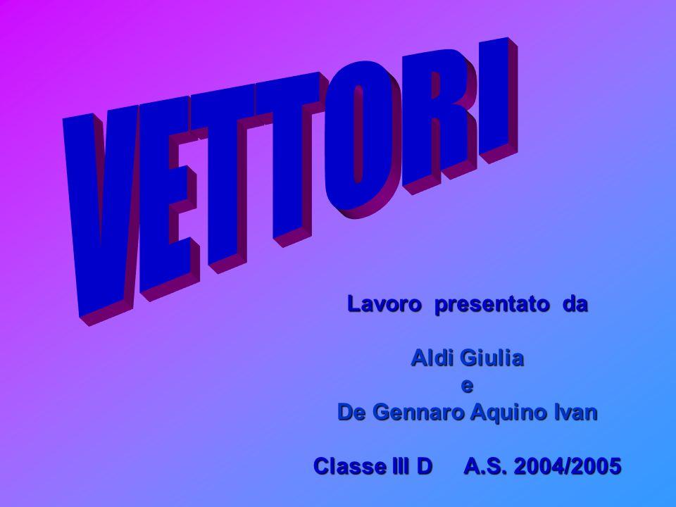 VETTORI Lavoro presentato da Aldi Giulia e De Gennaro Aquino Ivan