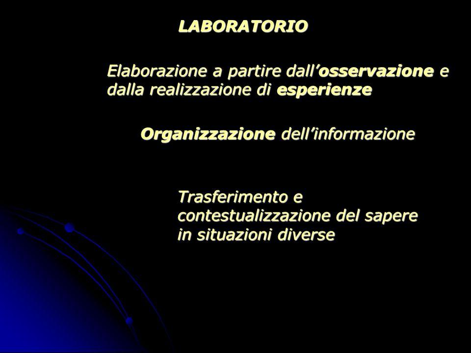 LABORATORIO Elaborazione a partire dall'osservazione e dalla realizzazione di esperienze. Organizzazione dell'informazione.