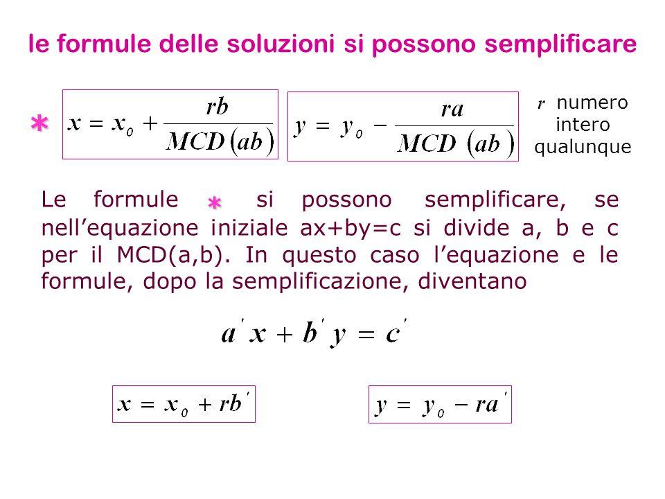 * le formule delle soluzioni si possono semplificare