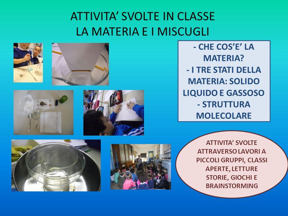 ATTIVITA' SVOLTE IN CLASSE LA MATERIA E I MISCUGLI