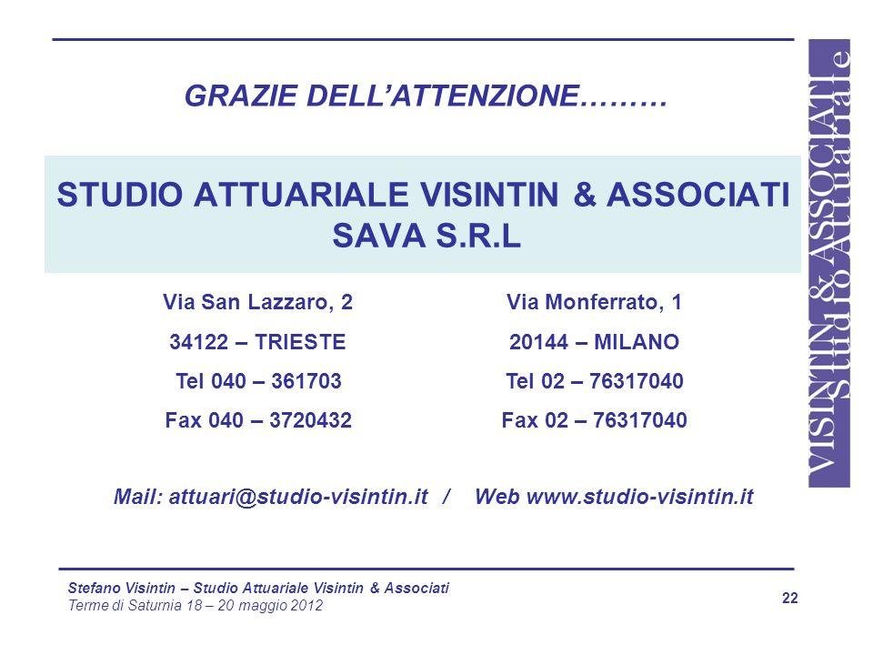 STUDIO ATTUARIALE VISINTIN & ASSOCIATI SAVA S.R.L