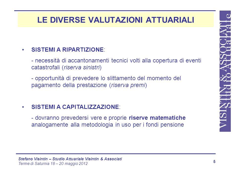 LE DIVERSE VALUTAZIONI ATTUARIALI