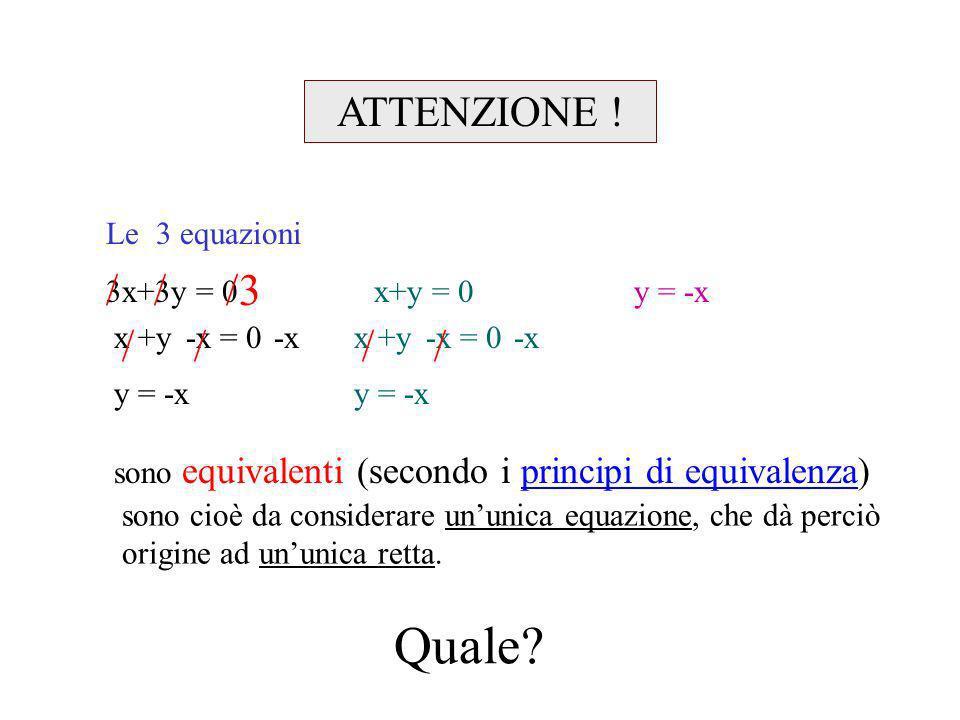 Quale / / /3 / / / / ATTENZIONE ! Le 3 equazioni
