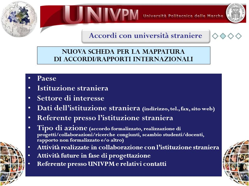 NUOVA SCHEDA PER LA MAPPATURA DI ACCORDI/RAPPORTI INTERNAZIONALI