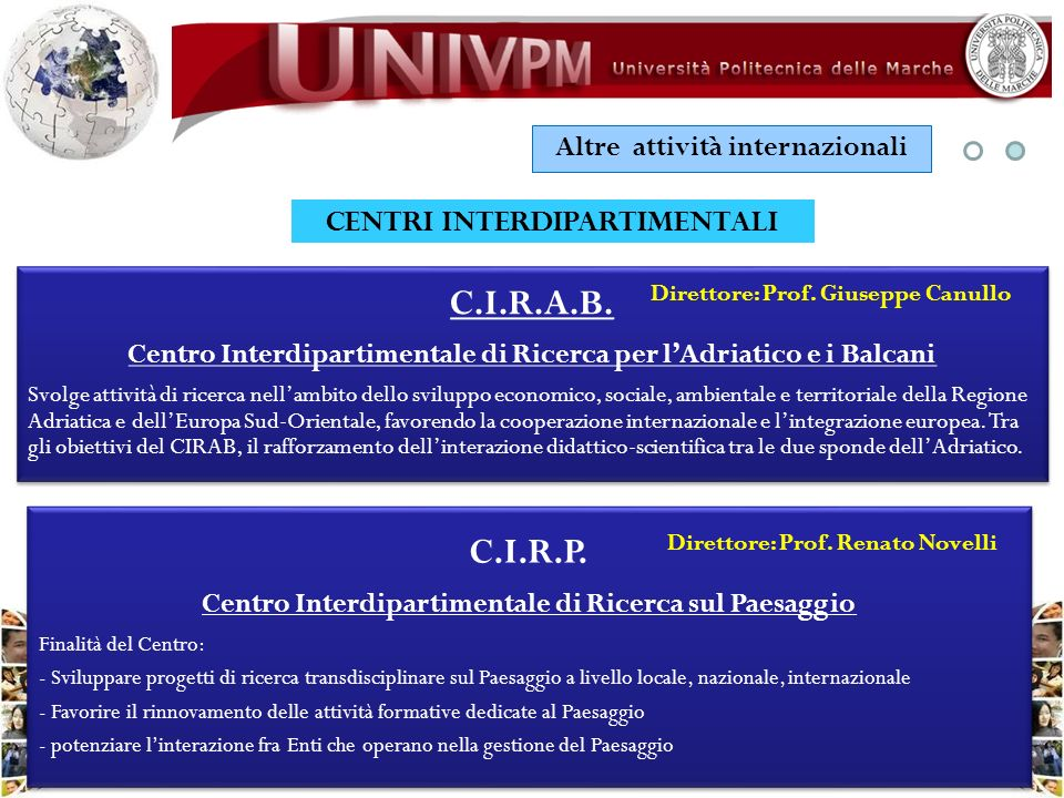 Altre attività internazionali CENTRI INTERDIPARTIMENTALI