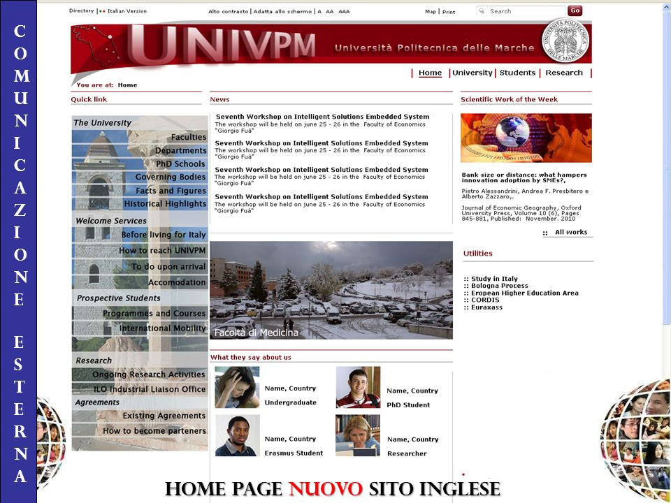 HOME PAGE NUOVO SITO INGLESE