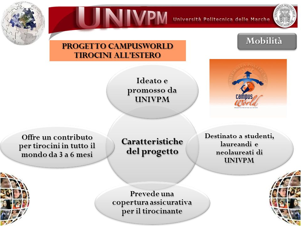 Mobilità Caratteristiche del progetto Ideato e promosso da UNIVPM