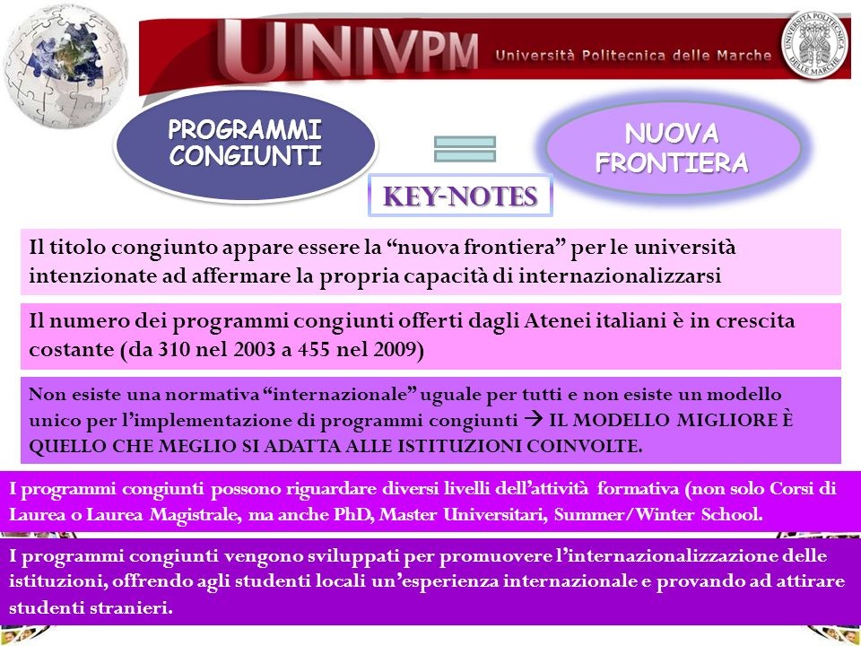 KEY-NOTES NUOVA FRONTIERA PROGRAMMI CONGIUNTI