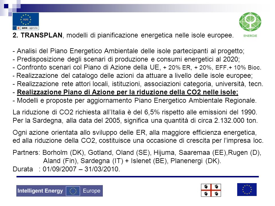 2. TRANSPLAN, modelli di pianificazione energetica nelle isole europee