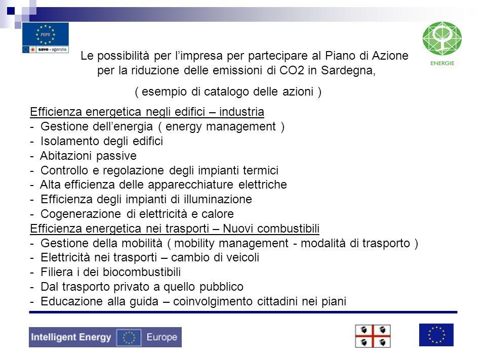 Le possibilità per l'impresa per partecipare al Piano di Azione per la riduzione delle emissioni di CO2 in Sardegna, ( esempio di catalogo delle azioni )